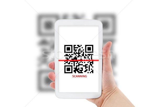 Tablet qr code technologie ruimte bar scherm Stockfoto © simpson33
