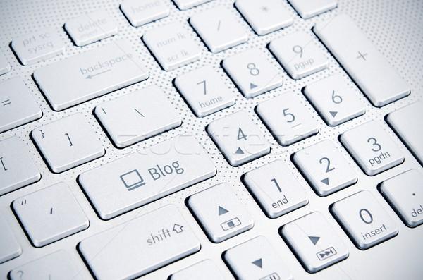 Блог ключевые белый клавиатура ноутбука работу Сток-фото © simpson33