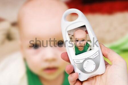 Foto stock: Mano · vídeo · bebé · supervisar · seguridad
