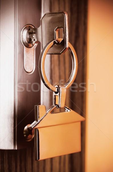 Ev anahtar gümüş krom ev biçim Stok fotoğraf © simpson33