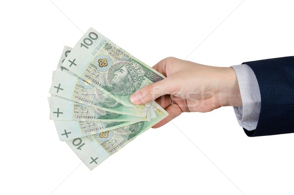 Range of Polish banknotes in hand Stock photo © simpson33