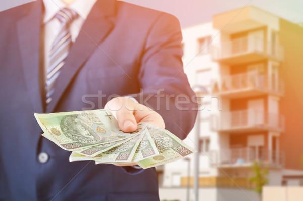 Zakenman geld lening huis cash bankbiljet Stockfoto © simpson33