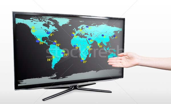Hand showing weather forecast on modern TV screen Stock photo © simpson33