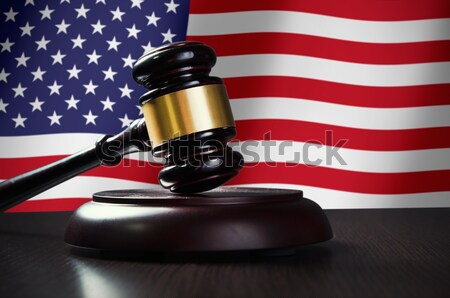 Bois marteau USA pavillon justice droit Photo stock © simpson33