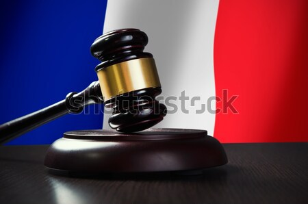 Wooden gavel with French flag in background Stock photo © simpson33