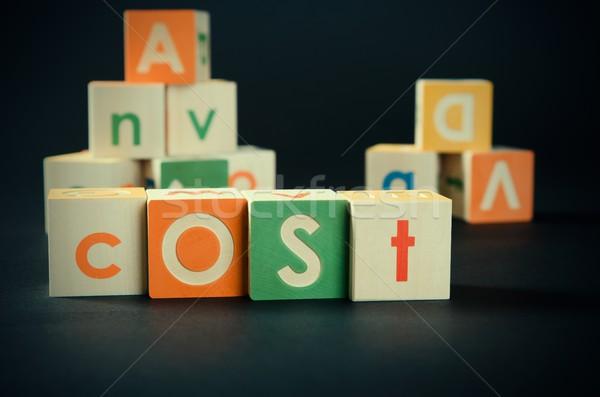 Costo palabra colorido bloques contabilidad negocios Foto stock © simpson33