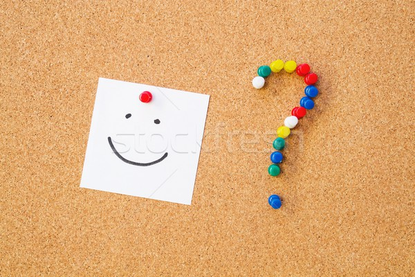 Sourire note cordon bord interrogation papier Photo stock © simpson33