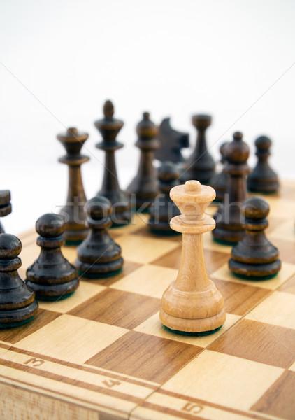 Rainha rei peças de xadrez tabuleiro de xadrez branco xadrez Foto stock © simpson33