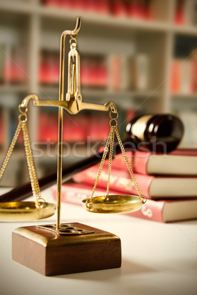 Law composition with scale and gavel on books Stock photo © simpson33