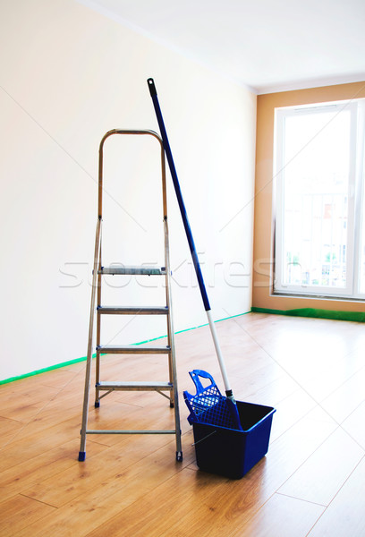 Живопись инструменты пустой комнате дома строительство стены Сток-фото © simpson33
