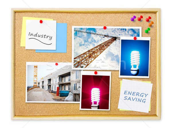 Industry on memo cork pin board Stock photo © simpson33