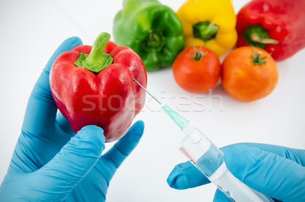 Man with gloves working with pepper in genetic engineering labor Stock photo © simpson33