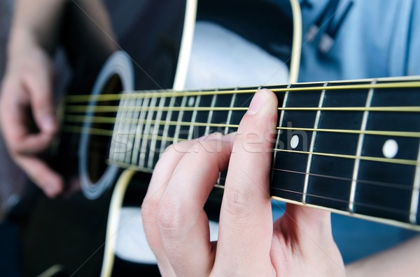 Close up of playing guitar. Musician holding a chord Stock photo © simpson33