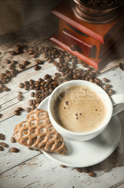 Coffee, gingerbread and old retro mill grinder Stock photo © simpson33