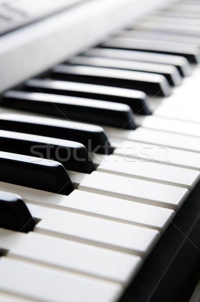 Stock photo: Piano keys of electronic keyboard musical instrument