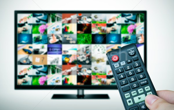 Remote and TV with multiple images gallery Stock photo © simpson33