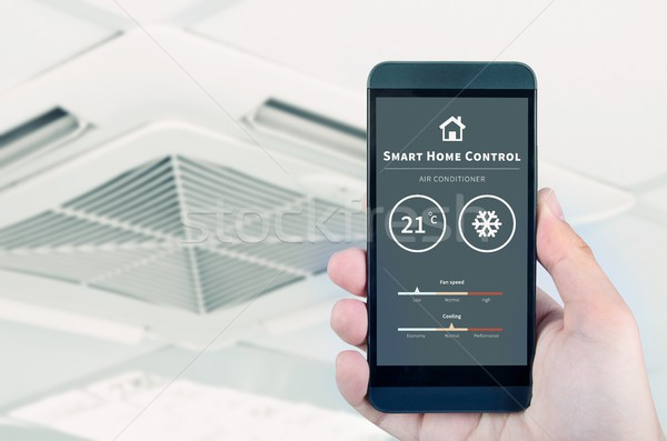 Air conditioner remote control with smart home system. Stock photo © simpson33