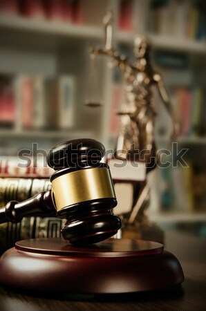 Law concept with gavel and Themis in background Stock photo © simpson33