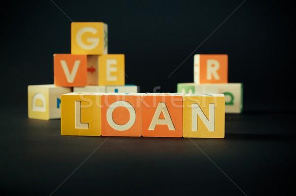 Prestito parola colorato blocchi debito previsione Foto d'archivio © simpson33