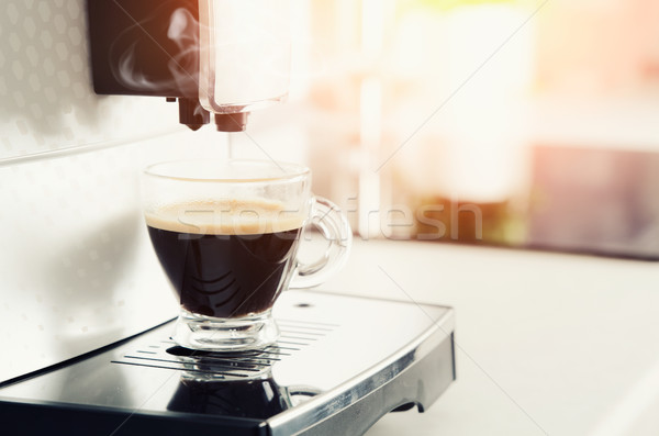 Home professional coffee machine with espresso cup Stock photo © simpson33
