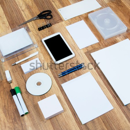 Mockup business template on wooden background Stock photo © simpson33