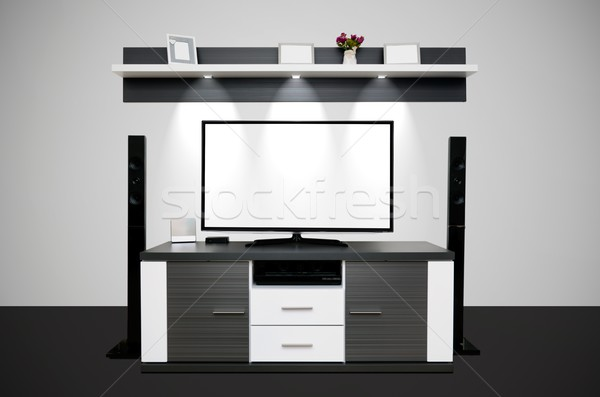 Modern TV room with illuminated LED lamps Stock photo © simpson33