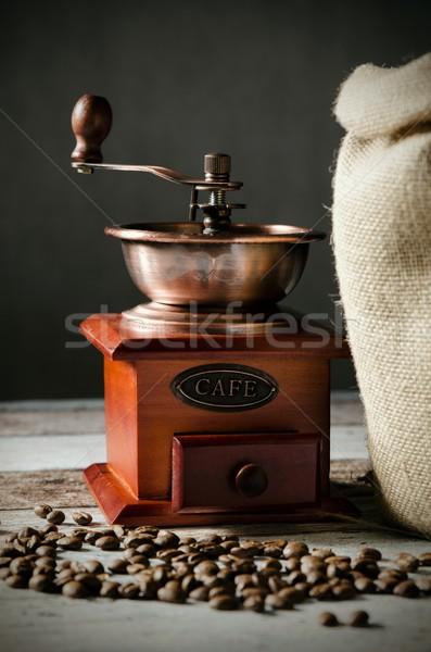 Café feijões vintage moinho Foto stock © simpson33