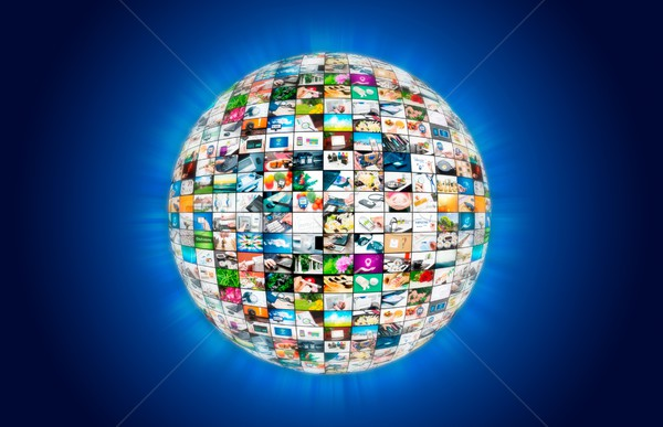 Television broadcast multimedia sphere globe abstract compositio Stock photo © simpson33
