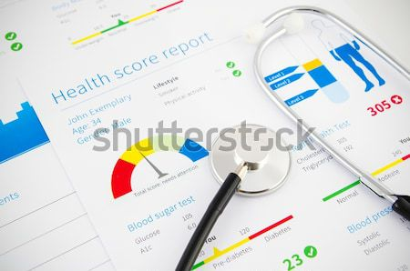 Diabetic test kit on medical background Stock photo © simpson33