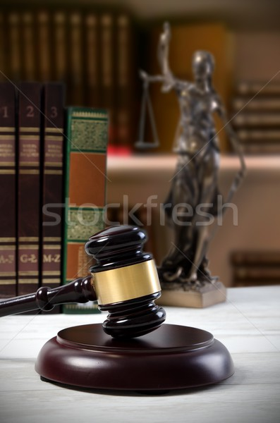 Justice droit symbole bibliothèque avoué marteau Photo stock © simpson33