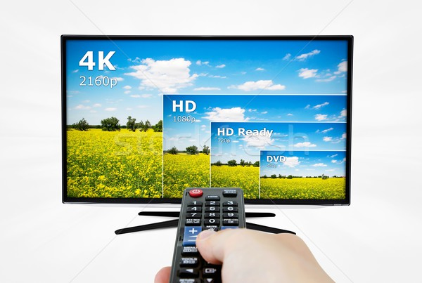4K television display with comparison of resolutions. Remote con Stock photo © simpson33