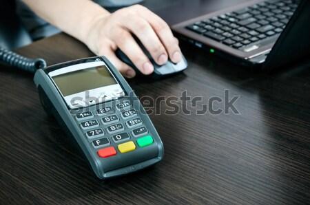 Pago oficina portátil hombre banco máquina Foto stock © simpson33