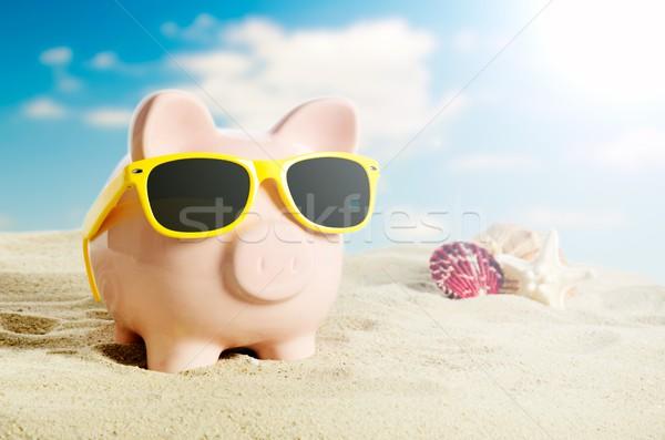 Alcancía vacaciones vacaciones economía gafas de sol playa Foto stock © simpson33