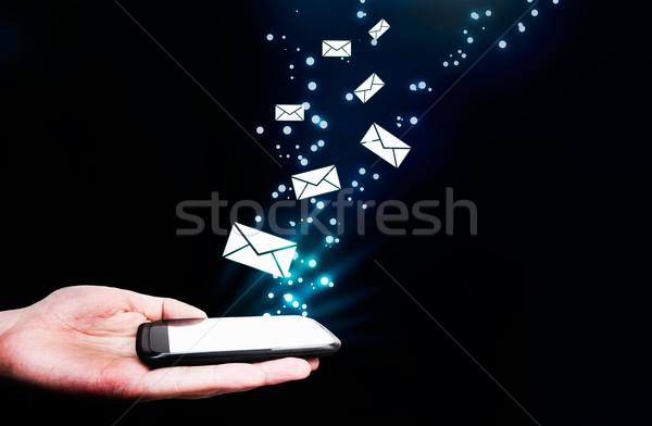 Abstract aanraken mobiele telefoon vliegen effect Stockfoto © simpson33