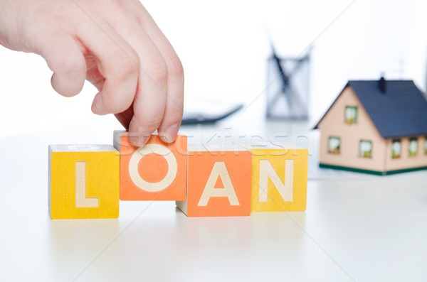 Kölcsön szó színes kockák adósság előrejelzés Stock fotó © simpson33