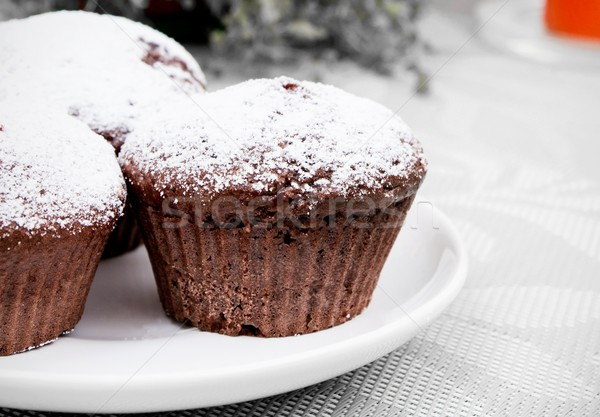 Chocolate muffins with sugar on white plate Stock photo © simpson33