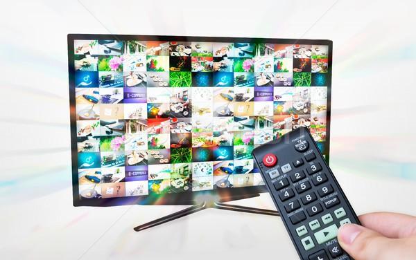 Telewizja wielokrotność zdjęcia galerii streaming poświata Zdjęcia stock © simpson33