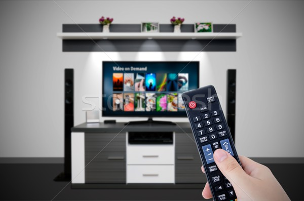 Video on demand VOD service in TV. Watching television home cine Stock photo © simpson33