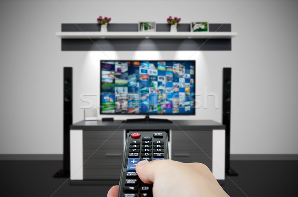 Television broadcast multimedia composition in room and remote c Stock photo © simpson33