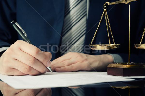 Abogado de trabajo acuerdo oficina hombre firma Foto stock © simpson33