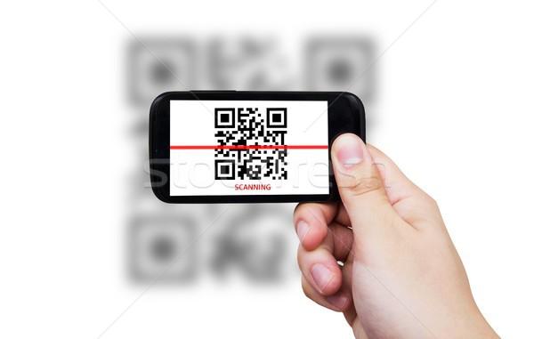 Smartphone qr code technologie ruimte bar scherm Stockfoto © simpson33