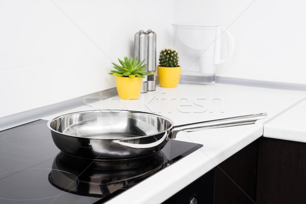 Frying pan in modern kitchen with induction stove Stock photo © simpson33
