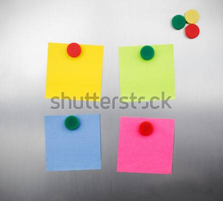 Coloured notes and magnets on inox metallic fridge Stock photo © simpson33