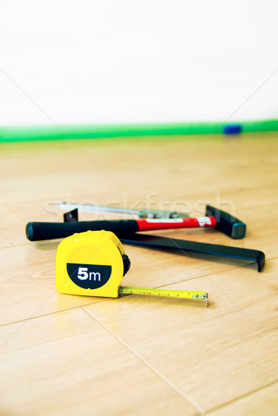 Stock photo: The wood flooring and tools