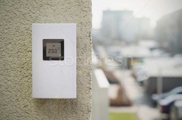 Wireless weather meter installed outdoor Stock photo © simpson33