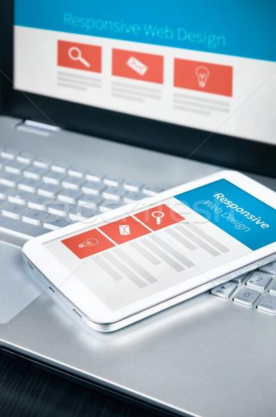 Duyarlı web tasarım hareketli telefon Stok fotoğraf © simpson33