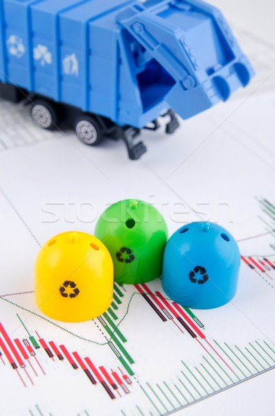 Colored trash bins and garbage truck toys on business background Stock photo © simpson33