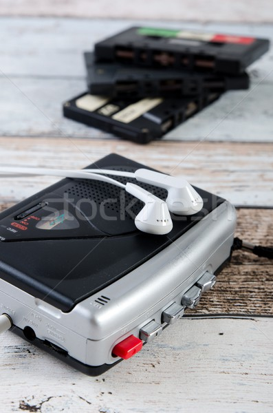 Old casette tape player and recorder with earphones Stock photo © simpson33