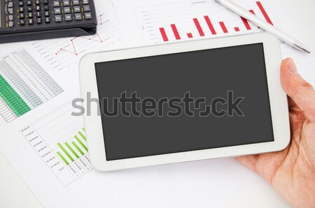 Tablet pc with blank screen. Modern workplace in office Stock photo © simpson33