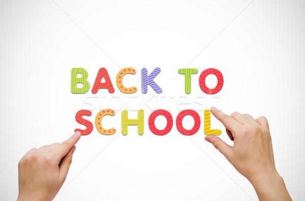 Kéz szavak vissza az iskolába mágneses tábla színes Stock fotó © simpson33